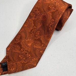 "The Tie Bar paisley tie men's orange necktie 58"""